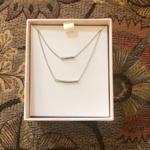 Summer & Rose Double Bar Necklace in White
